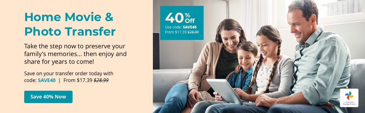 Preserve your memories now to enjoy and share for years to come! Save with code SAVE40.