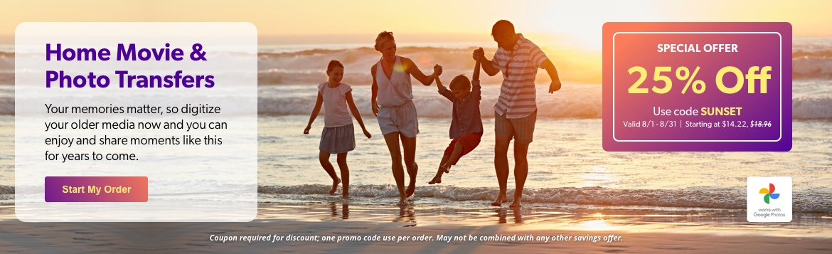Save 25% OFF! Your memories matter, so digitize your older media now and you can enjoy and share moments like this for years to come.