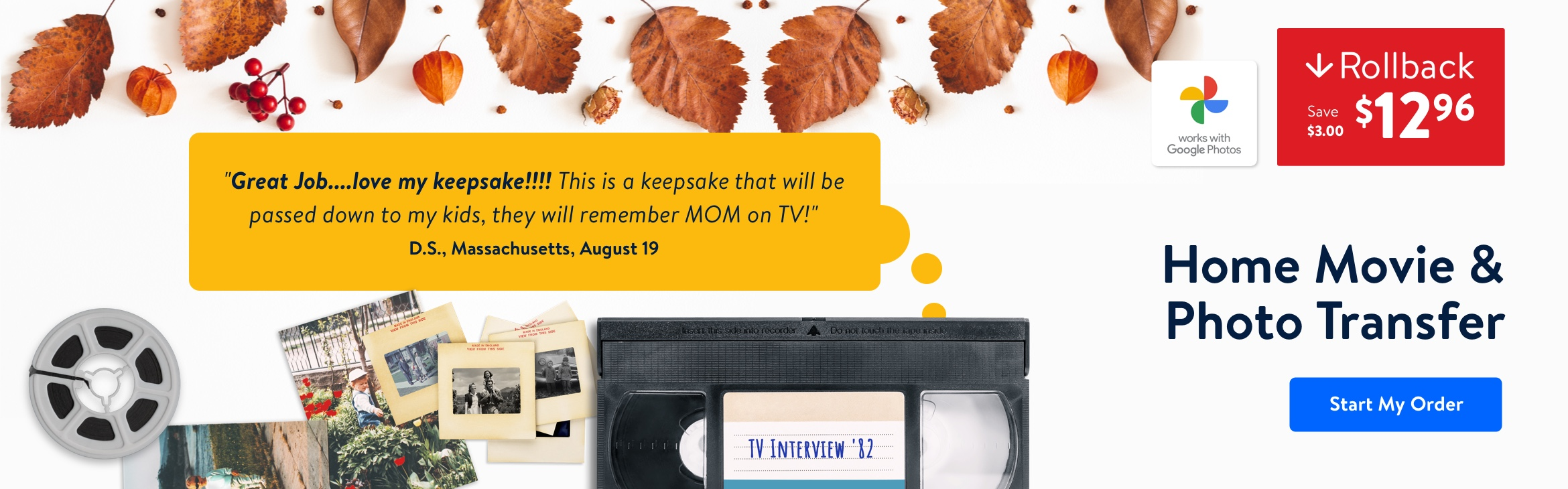 Transform yesterday's video, film, and images into lasting digital memories and save $3 on your transfer!